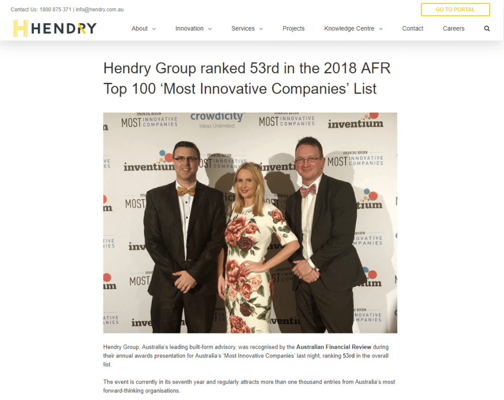Hendry group afr award article